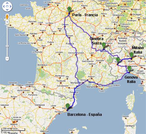 Recorrido de Viaje de Vacaciones por Europa