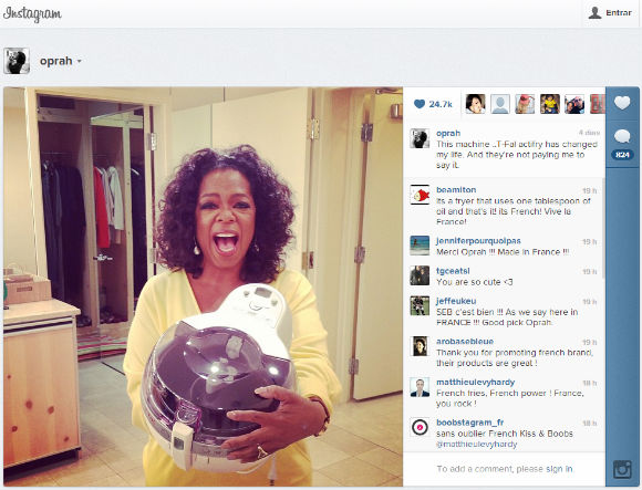 oprah winfrey abrazando su actifry tefal